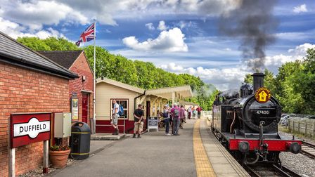 Ecclesbourne Valley Railway Steam loco at Duffield Station with its new ticket office/waiting room. It is hoped that...