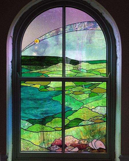 Stained glass of Carsington Water by David Griffin