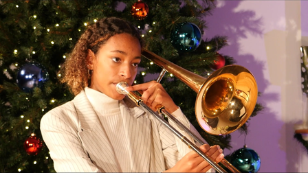 Sidcot School student playing the trombone.