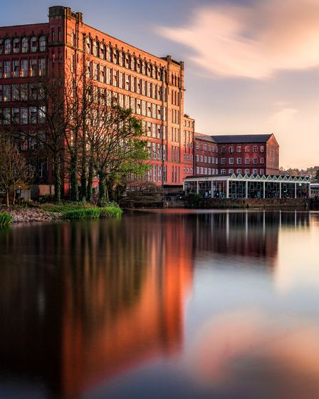 Belper Mill and the still waters of the Derwent