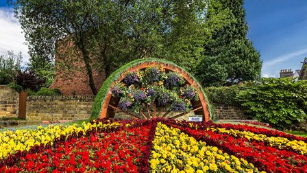 The Water Wheel, designed, built and planted by Stewart Hopkinson for Belper in Bloom 2017