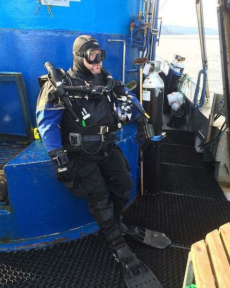 Alex all kitted up and ready to dive (photo courtesy of BSAC)