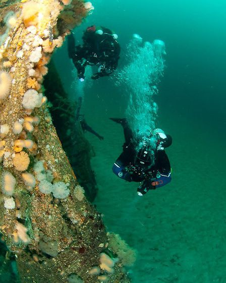 Alex exploring the wrecks and wildlife on an expedition to Shetland (photo Gareth Lock)