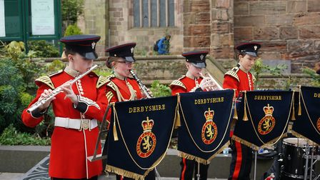 Derbyshire Army Cadets playing outside St Peter's Church before the service