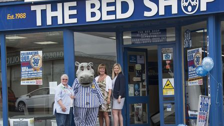 Graham's wife Alison, daughter Rachael and mother-in-law xx xxxx xxxx with the Silent Night Hippo mascot
