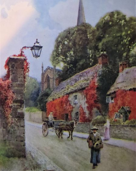 South Church Street, Bakewell, painted by EW Haslehust in 'The Peak District', 1946