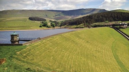 Kinder Reservoir with backdrop of Kinder Edge by Sally Mosley