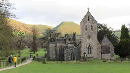 Ilam Church with the flat top of Thorpe Cloud behind - looking like something out 'Close Encounters of the Third Kind'!