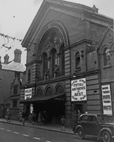 Vintage view of Derby Temperance Hall - posters make the message clear