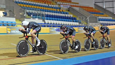 John Archibald leads the HUUB Wattbike Team pursuit squad through a workout at Derby Arena