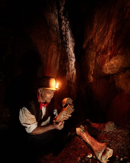 Recreation of the moment of discovery of the Dream cave wooly rhino remains in the Dream cave, Wirksworth