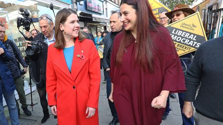 Liberal Democrat leader Jo Swinson (left) is greeted by the party's candidate for Finchley and Golde