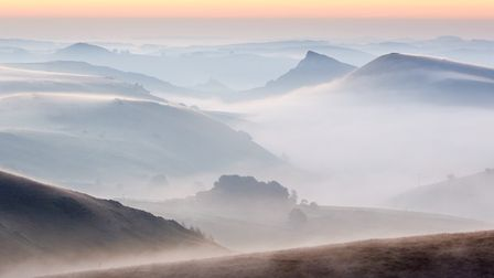 Derbyshire in the mist, photograph by Ian Daisley, Via Gellia Mills, Bonsall
