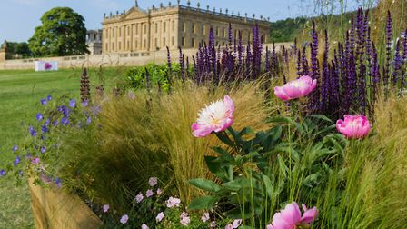 Visitors look at the long borders at RHS Chatsworth Flower Show