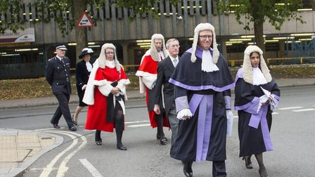 Accompanied by her predecessor Judge Burgess in the procession to Derby Cathedral prior to the Legal Service Photo: Ruth...