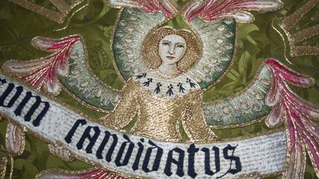 Damaged embroidery that was extensively restored and remounted on new material