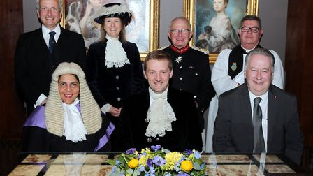 High Sheriff Lord Burlington, centre front, pictured with: (left to right) Under Sheriff Andrew Cochrane, Her Honour Judge...