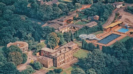 Alfreton Hall and Lido from the air