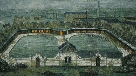 Early forerunner of the modern lido - Derby Free Baths 1873