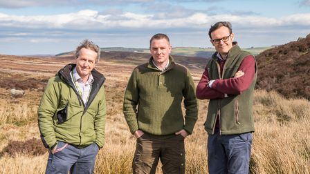 Chris Dean, head of Moors for the Future, gamekeeper Tom Adamson and land agent Anthony Barber-Lomax