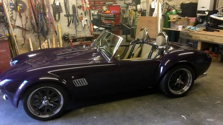 An A C Cobra, the most recent and last car to be built by Andy Knighton
