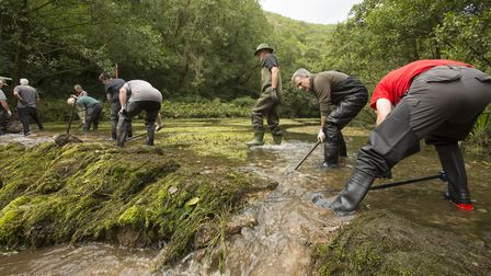 Removing the weir in Dovedale proved heavy work