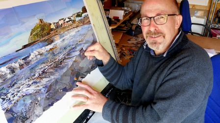 Giles Davies composing a picture called 'Criccieth, the Breakers of Dawn'. The composition is dedicated to Giles' father...