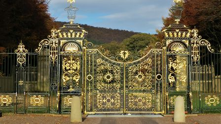 Chatsworth's Golden Gates glinting in the sunlight