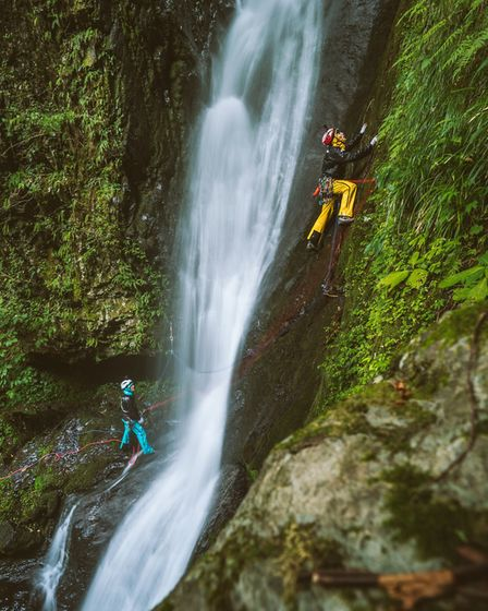 Climbing the Shomyo Falls Photo: The North Face/Matty Hong