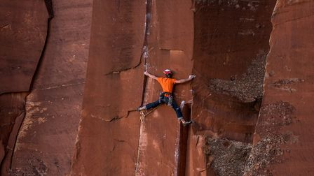 James tackling a rock face near Moab, Utah, USA