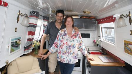Dan and Mary-Ann Griffin on board their narrowboat