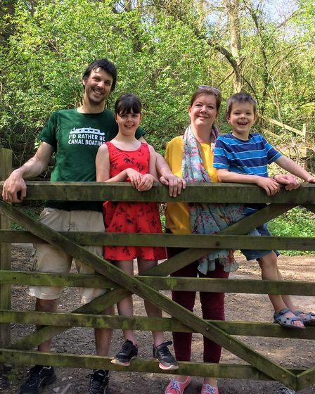 Dan and Mary with their children exploring around Mercia Marina