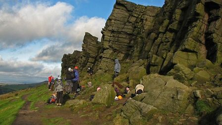 Climbers at the Windgather Rocks near Kettleshulme by Duncan Morgan