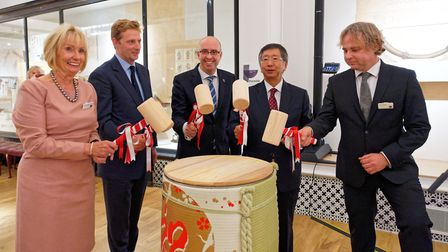 Liz Fothergill, High Sheriff William Burlington, Marvin Cooke, His Excellency Koji Tsuruoka and Tony Butler take part in...