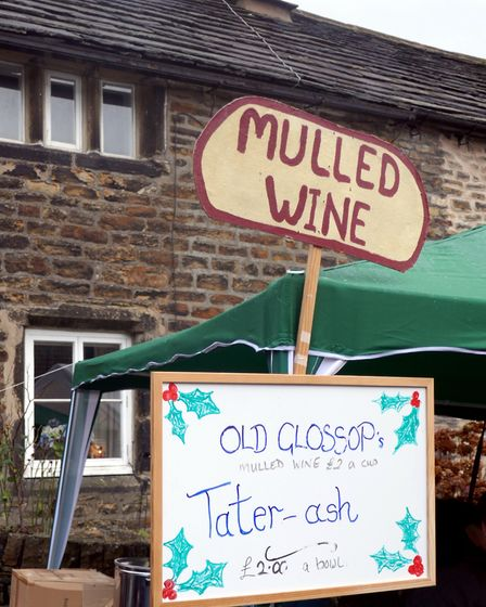 Queue here for mulled wine and 'tater-ash'