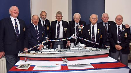 Surviving members of HMS Kenya's crew: Derrick Cuthbert, John Rickford, Brian Franklin, Peter Lewis, Raymond 'Ginger'...