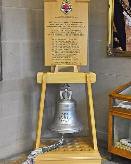 The ship's bell and wheel are on display at the Grand Staircase in Derby Council House