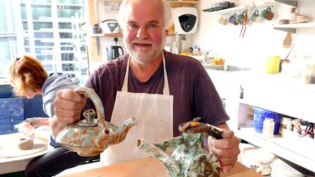 Lee Waterman with his double spouted and breakfast teapots