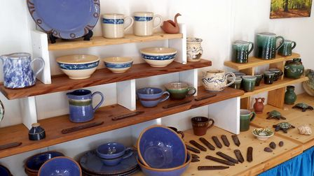 Some of Lee Waterman's pots for sale at his Creative Pottery studio