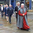 The Verger and Under Sheriff of Derbyshire lead the High Sheriff's procession