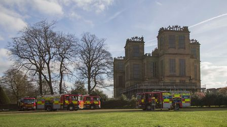 Derbyshire Fire Service on a training exercise at Hardwick Hall