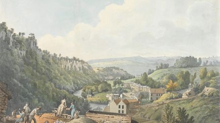 Matlock Baths from the Guilderoy Mine at the head of the Vale, watercolour, pen and brown ink, William Day, probably 1789