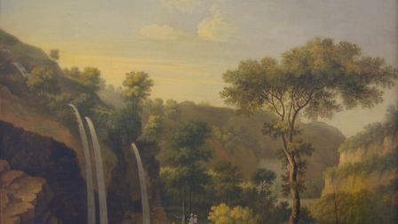 Cascades below Matlock Bath - oil on canvas, Thomas Smith of Derby, about 1740 - Derby Museums and Art Gallery