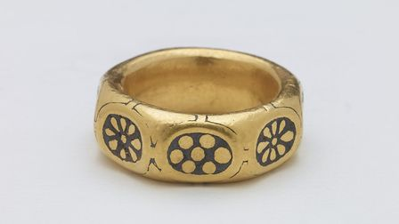 Among the other finds in the hoard was this beautiful Anglo-Saxon gold finger-ring, probably made not long before the...