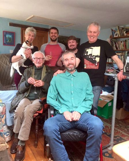 Family group  David with family and friends on his last birthday, 2015. Left to right: Sarah Greaves; Rodney, the Jack...