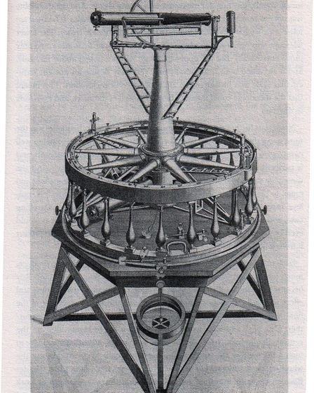 A drawing of the theodolite that had to be transported around the country for the survey