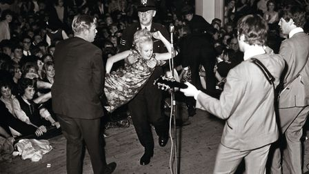 The Beatles playing at Pavilion Gardens Ballroom Buxton Derbyshire UK in 1963 (c) Pictorial Press Ltd / Alamy Stock Photo