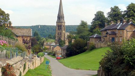 Looking down Edensor Lane to St Peter's Church