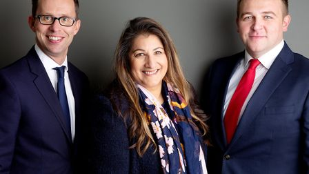(L-R) James Brown, Co-Founder and Managing Partner, Hall Brown Family Law; Alison Fernandes; Sam Hall, Co-Founder and...