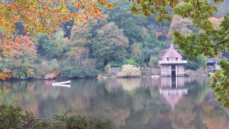 Autumn colours reflected on the lake. Image: Sally Mosley